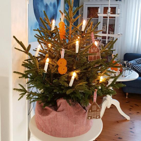 Liten julgran på bord